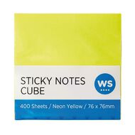 WS Yellow Sticky Notes 76mm x 76mm 400 Sheet Cube