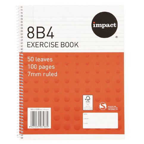 Impact Exercise Book 8B4 7mm Ruled Spiral 50 Leaf Wiro Red