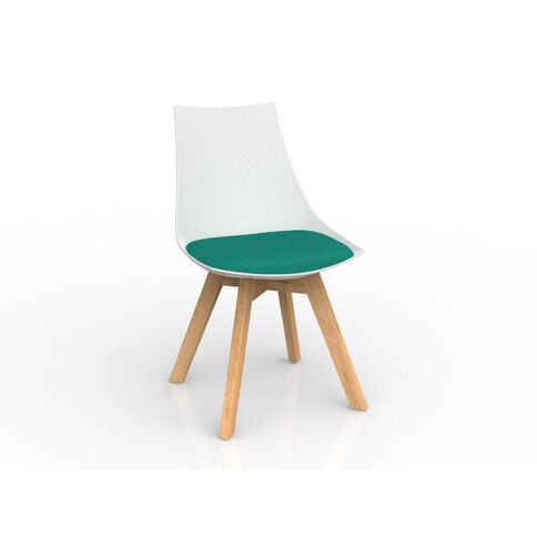 Luna White Emerald Green Oak Base Chair Green