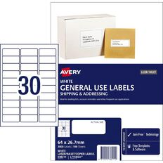 Avery General Use Labels White 3000 Labels