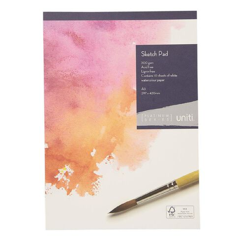 Uniti Platinum Sketch Pad 300gsm A3 10 Sheets