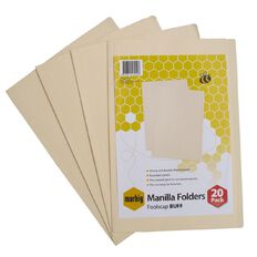 Marbig Manilla Folders Foolscap 20 Pack Buff