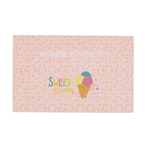 Kookie Novelty Stationery Set Ice Cream Pink