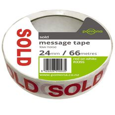 Pomona Sold Tape Red/White 25mm x 66m