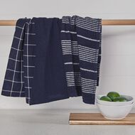 Living & Co Aria Tea Towel Set 3 Pack Navy 40cm x 65cm