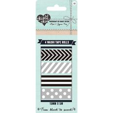 This & That Black and Silver Washi Tape 4 Pack