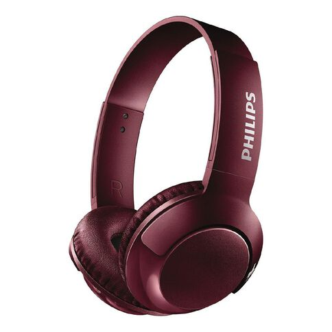 Philips On Ear Bass+ Wireless Headphones Red