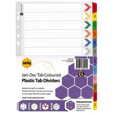 Marbig Dividers Plastic Reinforced Colour January-December Tab A4