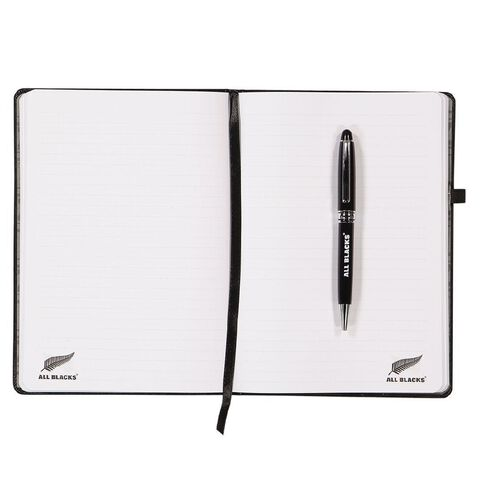 All Blacks PU Notebook & Pen Set Black A5