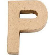 Paper Mache Alphabet Small Symbol P 10cm Brown