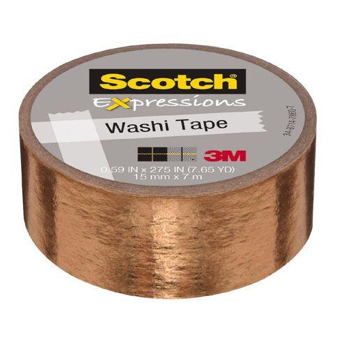 Scotch Washi Tape 15mm x 7m Foil Copper