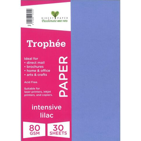 Trophee Paper 80gsm 30 Pack Intensive Lilac Purple A4