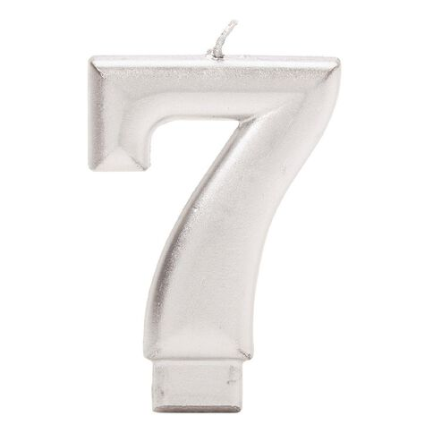 Candle Metallic Numeral #7 Silver