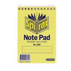 Spirax Notebook Spiral No.560 96pg 5mm Ruled 112 x 77mm Yellow