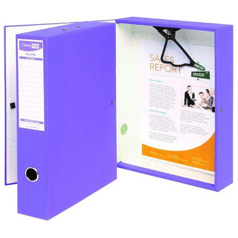ColourHide Foolscap Linen Box File Purple