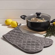 Living & Co Double Oven Glove Chambray Black 90cm x 17cm