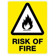 Impact Risk of Fire sign Large 610mm x 460mm