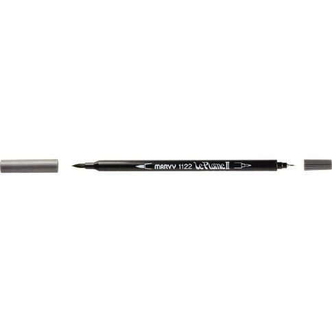 MARVY Le Plume II Dual Tip Marker Dark Grey