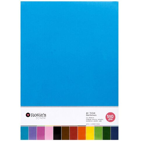 Rosie's Studio Value Cardstock Smooth 180g Brights A4 48 Sheet A4