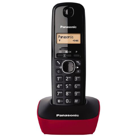 Panasonic KX-TG1611 Single Cordless Handset Red Red