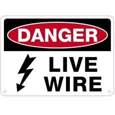 Impact Danger Live Wire Sign Small 240mm x 340mm