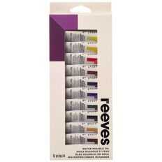 Reeves Watermixable Oil Colour Set 12 Pack Multi-Coloured