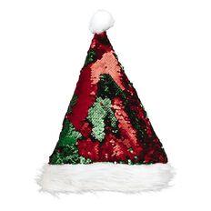Wonderland Reversible Sequin Santa Hat Red/Green