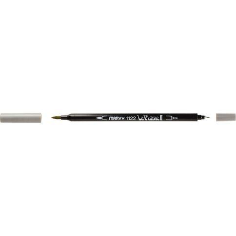 MARVY Le Plume II Dual Tip Marker Silver Grey