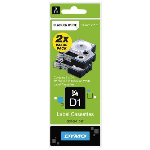 Dymo D1 Twin Label Tape 12mm x 7m