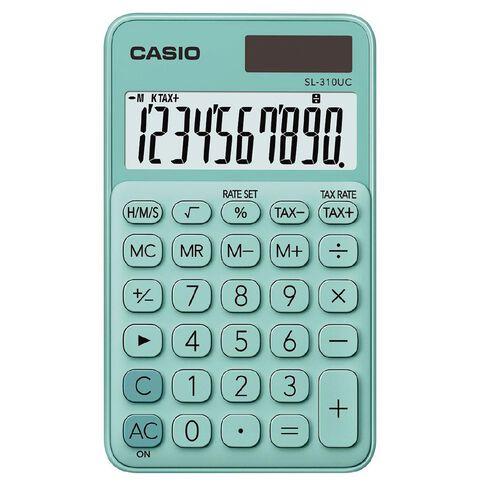Casio SL310UCGN Hand Held 10 Digit Calculator Green