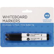WS Whiteboard Markers Fine 2 Pack Black