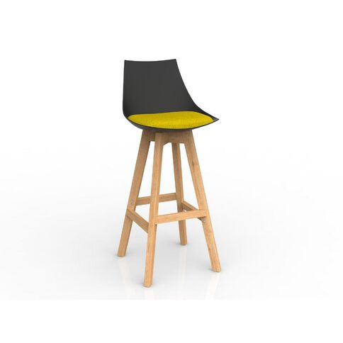 Luna Oak Base Barstool Black Bumblebee Yellow