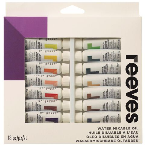 Reeves Watermixable Oil Colours 18 Pack Multi-Coloured