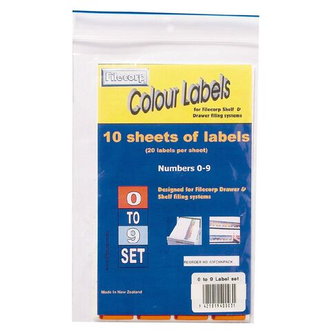Filecorp Labels Set Numeric 0-9 Half Sheet Pack