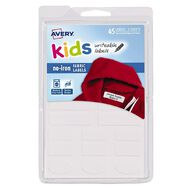 Avery Kids No-Iron Fabric Label Assorted 3 Sheets White