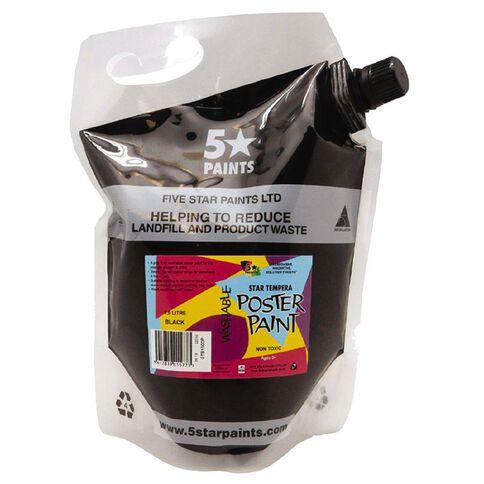 Fivestar Tempera Poster Paint Black 1.5 litre Pouch
