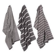 Living & Co Terry Stripe Tea Towel Set 3 Pack Charcoal 40cm x 65cm
