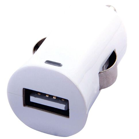 H+O Single USB Car Charger 2.4A White