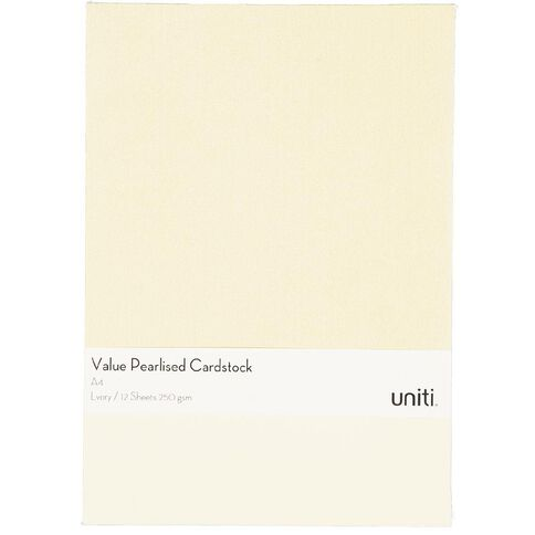 Uniti Value Cardstock Pearlized 250gsm 12 Sheets Ivory A4