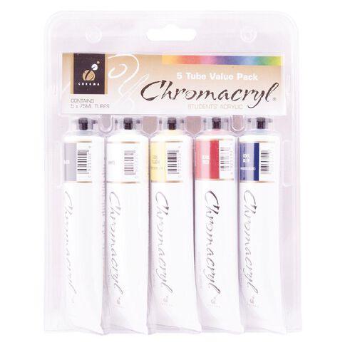 Chromacryl Students Acrylic Tube Set 5 x 75ml Multi-Coloured