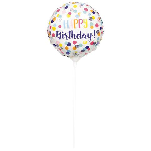 Artwrap Foil Balloon with Stick Birthday Confetti 22cm