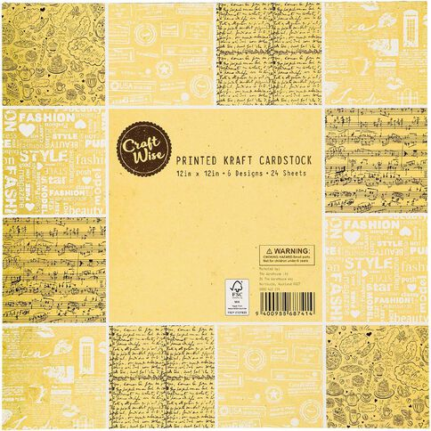 Craftwise Printed Kraft Cardstock 12in x 12in 24 Sheets