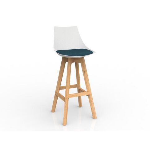 Luna White Deep Oak Base Barstool Blue