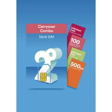 2degrees Carryover Combo SIM Blue
