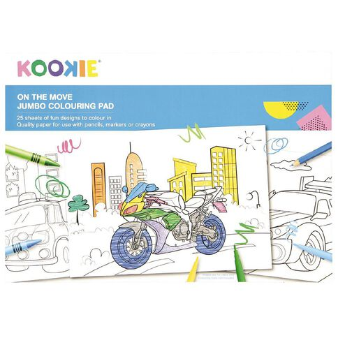 Kookie Jumbo Colouring Pad On the Move 25 Sheet A3