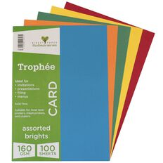Trophee Card 160gsm 100 Pack Brights Assorted A4