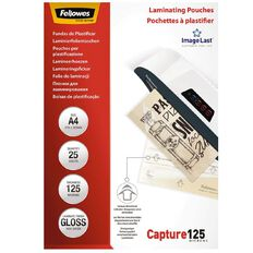 Fellowes Laminating Pouches A4 125 Micron 25 Pack