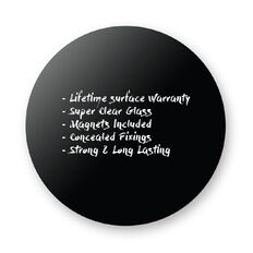 Boyd Visuals Magnetic Glass Board Round 1200mm Black