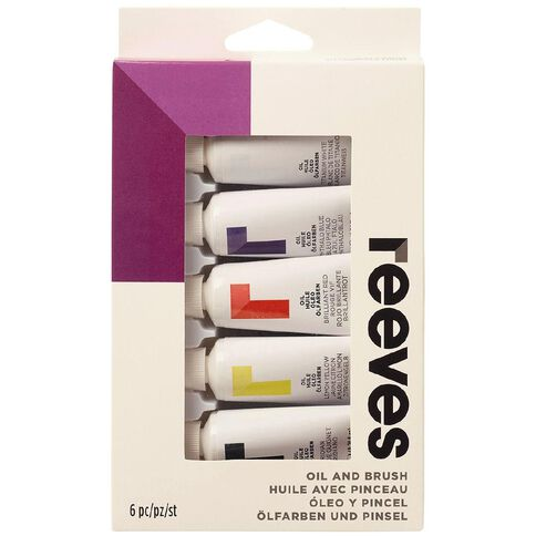 Reeves Oil Paint & Brush Set 5 Pack Multi-Coloured