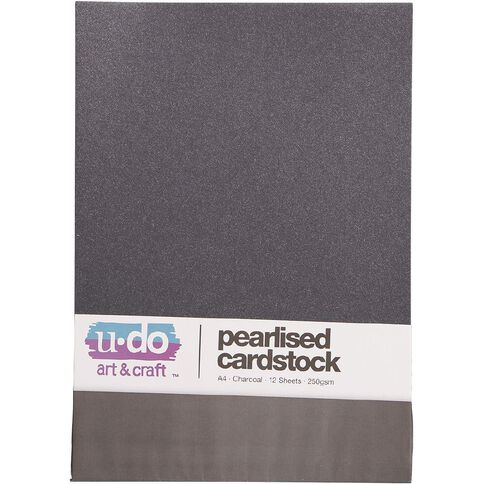 Uniti Value Cardstock Pearlised 250gsm 12 Sheets Charcoal A4